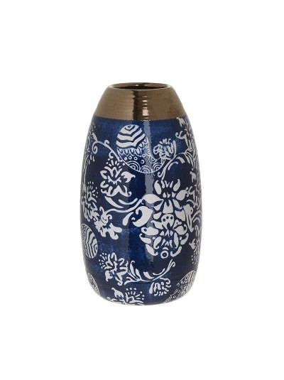 INART Κεραμικό Βάζο Μπλε/Λευκό με Διακοσμητικά Λουλούδια Κωδικός: 3-70-178-0084