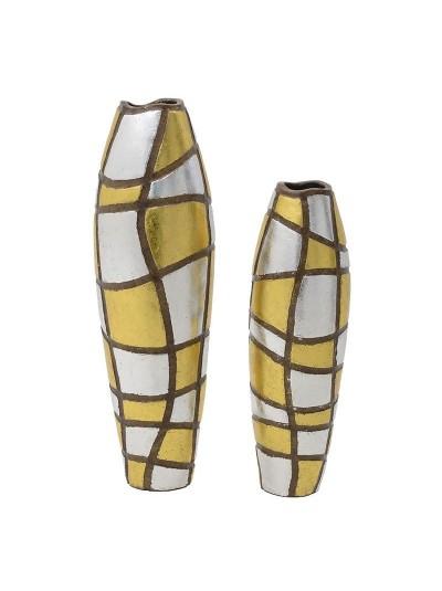 INART Κεραμικό Βάζο Χρυσό/Ασημί Σετ Των 2 Κωδικός: 3-70-411-0011