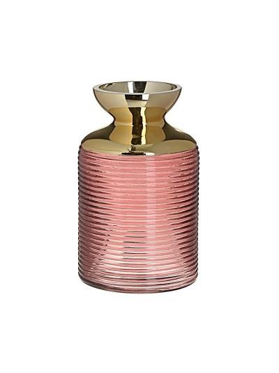 Γυάλινο Βάζο INART Ροζ / Χρυσό Κωδικός: 3-70-670-0007 Διαστάσεις: 12Χ12Χ20 Εκατοστά
