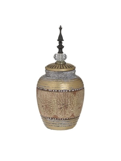 INART Δοχείο/Κεραμικό Διακοσμητικό με Καπάκι Μπεζ/Χρυσό Κωδικός: 6-70-151-0031 Διαστάσεις: 15X15X32 Εκατοστά