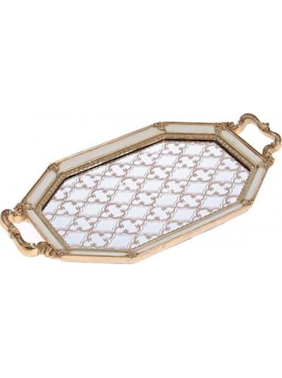 Δίσκος/Καθρέπτης Polyresin Εκρού / Χρυσός INART Κωδικός: 3-70-117-0033 Διαστάσεις: 41X22X3 Εκατοστά