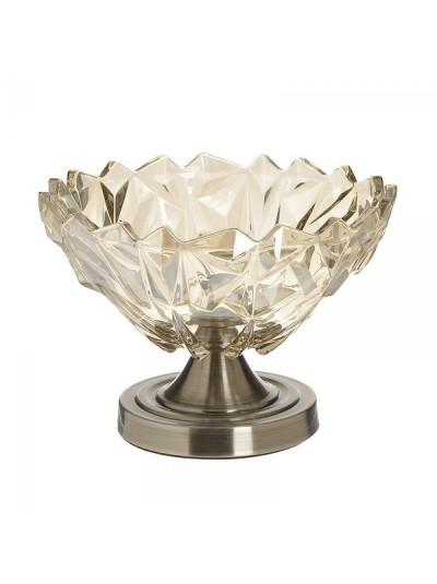 INART Μπώλ Γυάλινο Αντικέ Χρυσό με Μπρονζέ Μεταλλικό Πόδι Κωδικός: 6-70-151-0006 Διαστάσεις: 24Χ17 Εκατοστά
