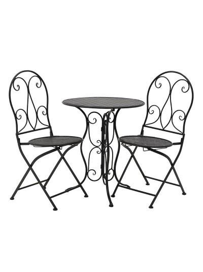 INART Σετ Τραπέζι Με 2 Καρέκλες Μεταλλικό Μαύρο Κωδικός: 3-50-207-0090