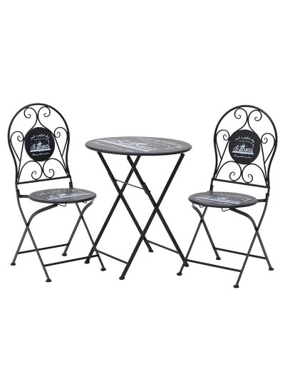 INART Σετ Τραπέζι Με 2 Καρέκλες Μεταλλικό Μαύρο Κωδικός: 3-50-207-0092