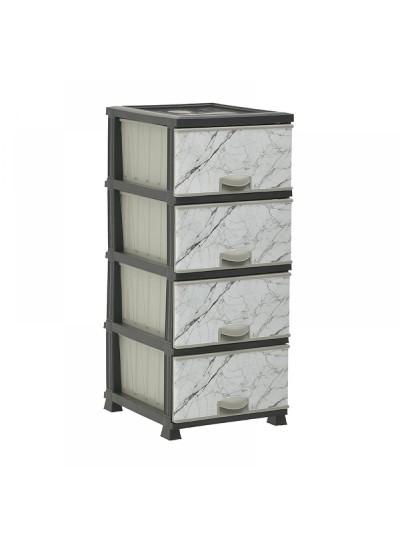 INART Πλαστική Συρταριέρα Με Όψη Μαρμάρου 38Χ46Χ90 Κωδ: 6-50-558-0002