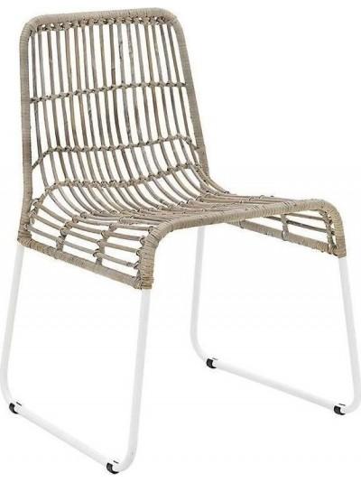 INART Καρέκλα Ρατάν Καφέ-Γκρι με Μεταλλικά Πόδια Κωδικός: 3-50-549-0003 Διαστάσεις: 44Χ45Χ80 Εκατοστά