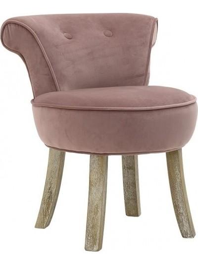 INART Καρέκλα/Σκαμπώ Βελούδινο Σομόν με Ξύλινα Πόδια Κωδικός: 3-50-104-0295 Διαστάσεις: 50Χ45Χ48 Εκατοστά