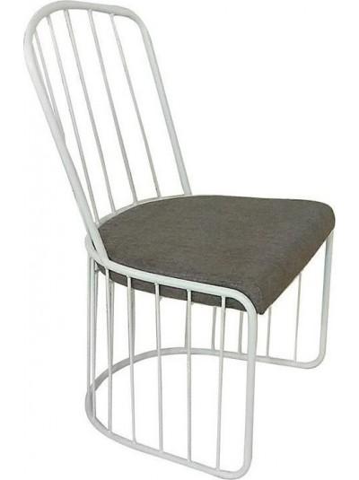 INART Καρέκλα Μεταλλική με Λευκό Σκελετό και Γκρι Υφασμάτινο Κάθισμα Κωδικός: 3-50-005-0011 Διαστάσεις: 46Χ45,5Χ89 Εκατοστά