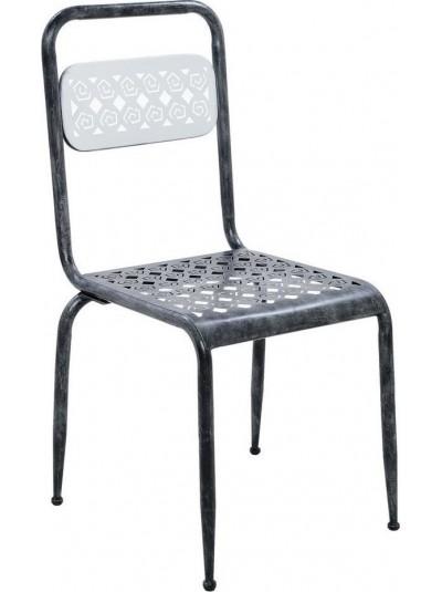 INART Καρέκλα Μεταλλική Γκρι με Διακοσμητικό Μοτίβο Κωδικός: 3-50-235-0027 Διαστάσει: 40Χ42Χ87 Εκατοστά