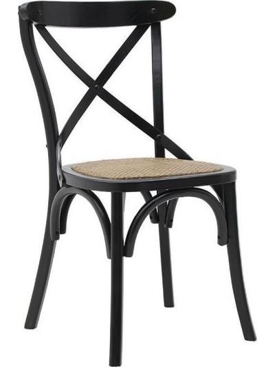 Καρέκλα Μπιστρό Μαύρη Ξύλινη με Ψάθινο Κάθισμα INART Κωδικός: 3-50-597-0060 Διαστάσεις: 45Χ42Χ88 Εκατοστά