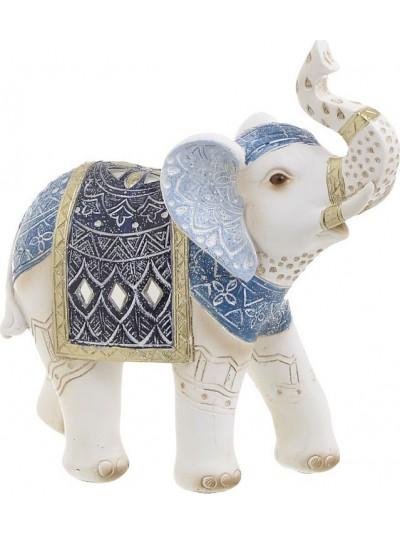 INART Διακοσμητικός Ελέφαντας Polyresin Λευκός-Μπλε Κωδικός: 3-70-547-0684 Διαστάσεις: 23Χ9.5Χ25 Εκατοστά