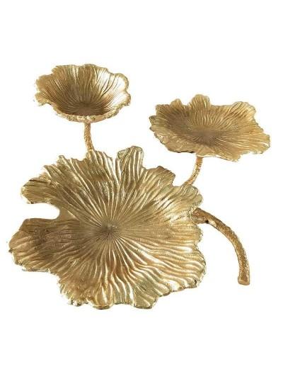 Επιτραπέζιο Διακοσμητικό INART Μεταλλικό Χρυσό με Διακοσμητικά Φύλλα Κωδικός: 3-70-903-0008 Διαστάσεις: 48Χ53Χ18 Εκατοστά