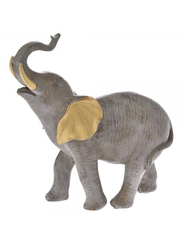 Ελεφαντάκι Διακοσμητικό 25Χ9Χ26 Γκρι με Χρυσο