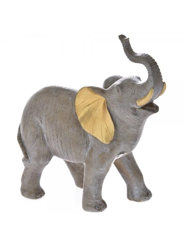 Ελεφαντάκι Διακοσμητικό 24Χ12Χ25 Γκρι με Χρυσο