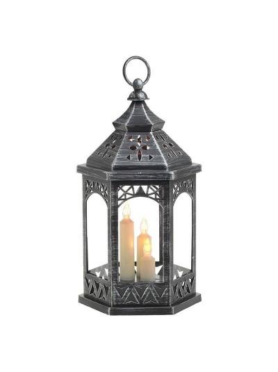 INART Φανάρι Γυάλινο με Κεριά LED Ασημί-Μαύρο Αντικέ Κωδικός: 3-70-770-0009 Διαστάσεις: 16Χ18,5Χ33 Εκατοστά