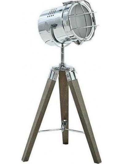 INART Φωτιστικό Επιτραπέζιο Μεταλλικό Ασημί με Ξύλινη Βάση Κωδικός: 3-15-460-0007 Διαστάσεις: 32Χ32Χ65 Εκατοστά