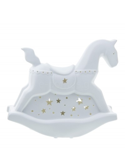 ORIANA FERELLI Λαμπατέρ Πορσελάνης Λευκό Rocking Horse Κωδικός:  CSL16206800 Διαστάσεις: 25,5 Εκατοστά