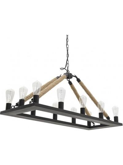 Φωτιστικό Οροφής Μεταλλικό Δωδεκάφωτο INART Ράγα με Σχοινί Μαύρο Κωδικός: 3-10-151-0002