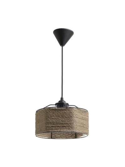 INART Φωτιστικό Οροφής Μεταλλικό Μαύρο Περίτεχνα Τυλιγμένο με Σχοινί Κωδικός: 6-10-584-0004 Διαστάσεις: 22Χ15 Εκατοστά