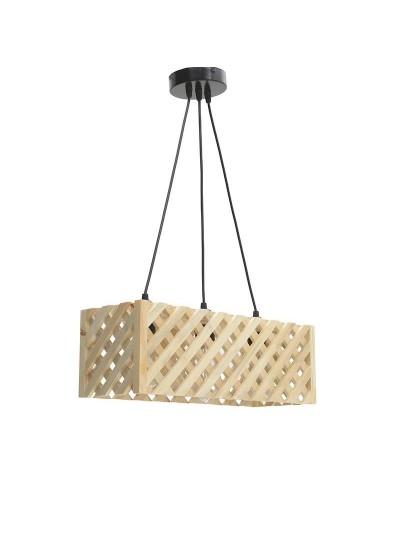 INART Φωτιστικό Οροφής Ξύλινο Καφέ με Διάτρητα Σχέδια Κωδικός: 6-10-584-0016 Διαστάσεις: 48Χ17Χ16 Εκατοστά