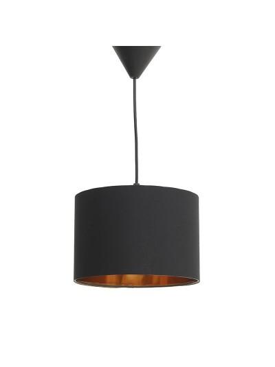 INART Φωτιστικό Οροφής Μαύρο Yφασμάτινο με Χρυσό Κωδικός: 6-10-584-0018 Διαστάσεις: 22Χ15 Εκατοστά