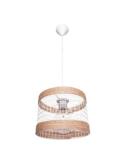 INART Φωτιστικό Οροφής Μεταλλικό με Σχοινί σε Φυσικό Χρώμα Ξύλου Κωδικός: 6-10-584-0020 Διαστάσεις: 23Χ17 Εκατοστά