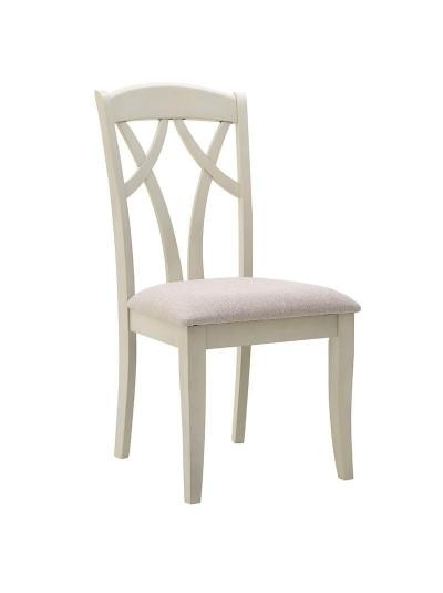 INART Ξύλινη Καρέκλα Λευκή-Μπεζ Κωδικός; 3-50-035-0005