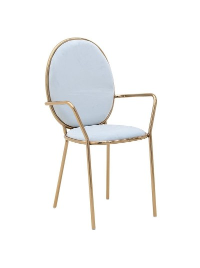 INART Μεταλλική-Βελούδινη Καρέκλα Γκρι-Γαλάζιο Κωδικός: 3-50-420-0003