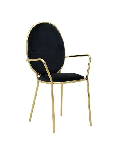 INART Μεταλλική Βελούδινη Καρέκλα Μαύρο-Χρυσό Χρώμα Κωδικός: 3-50-420-0004