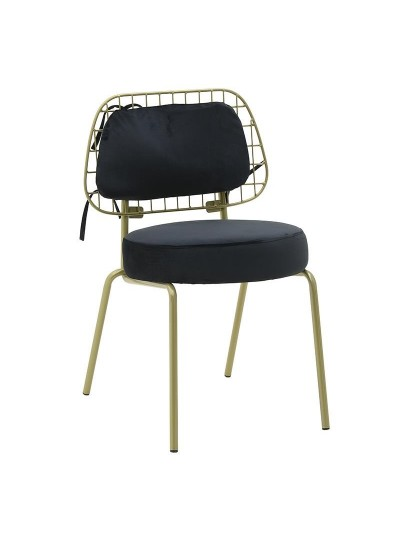 INART Βελούδινη Καρέκλα Μαύρο-Χρυσό Χρώμα Κωδικός: 3-50-466-0067