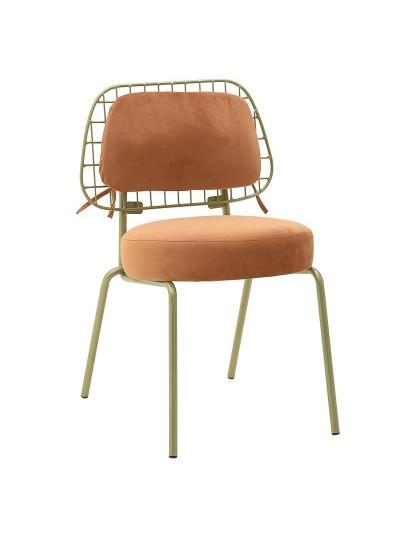INART Βελούδινη Καρέκλα Πορτοκαλί-Χρυσό Χρώμα Κωδικός: 3-50-466-0069