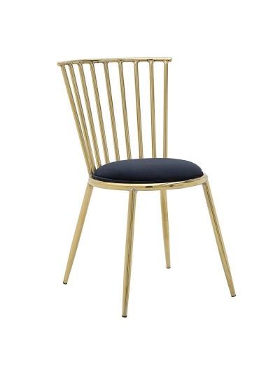 INART Μεταλλική Καρέκλα Με Βελούδινο Κάθισμα Χρυσό-Μαύρο Χρώμα Κωδικός: 3-50-542-0001