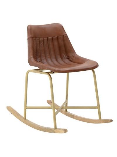 INART Κουνιστή Καρέκλα Δέρμα-Μέταλλο-Ξύλο Κωδικός: 3-50-552-0005