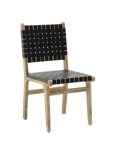 INART Ξύλινη-Δερμάτινη Καρέκλα Μαύρο Χρώμα Κωδικός: 3-50-552-0006