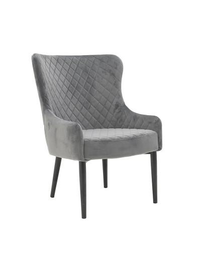 INART Βελούδινη Καρέκλα Γκρι Κωδικός: 3-50-553-0013