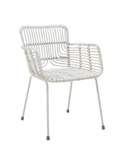 INART Καρέκλα Ραττάν Λευκή Κωδικός: 3-50-563-0017