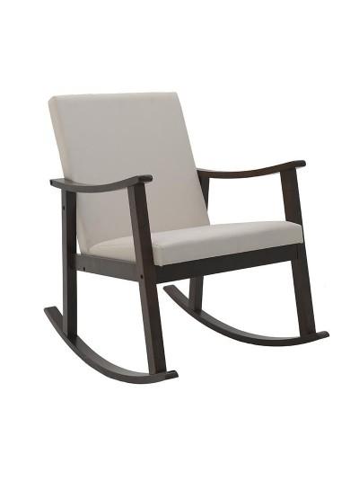 INART Ξύλινη Κουνιστή Καρέκλα Καφέ-Εκρού Κωδικός: 3-50-853-0022