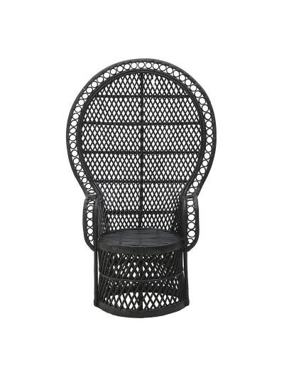 INART Καρέκλα Peacock RATTAN Μαύρη Κωδικός: 3-50-871-0001 Διαστάσεις: 115x72x149 Εκατοστά