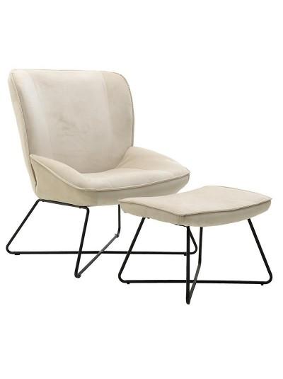 INART Σετ Καρέκλα Και Υποπόδιο Μπεζ Κωδικός: 3-50-884-0004