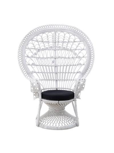 INART Καρέκλα Peacock RATTAN Λευκή Κωδικός: 3-50-908-0001 Διαστάσεις: 115x72x149 Εκατοστά