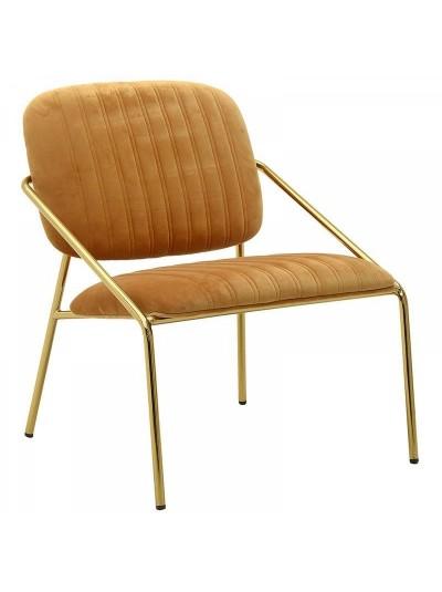 Καρέκλα Βελούδινη INART Μεταλλική Moυσταρδί/Χρυσή Κωδικός: 3-50-991-0015 Διαστάσεις; 63Χ67Χ74 Εκατοστά