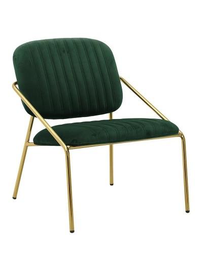 INART Μεταλλική Βελούδινη Καρέκλα Πράσινο Χρώμα Κωδικός: 3-50-991-0017