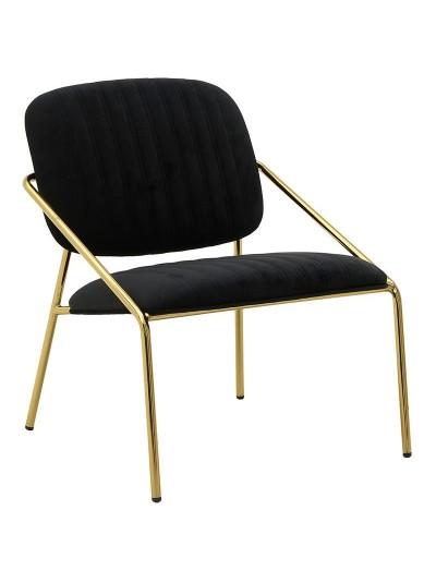 INART Μεταλλική Βελούδινη Καρέκλα Μαύρο Χρώμα Κωδικός: 3-50-991-0018