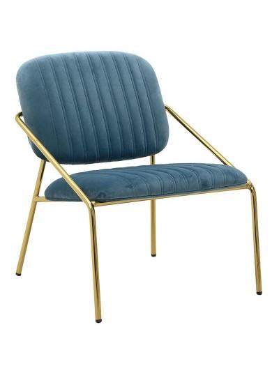 INART Μεταλλική Βελούδινη Καρέκλα Μπλε Χρώμα Κωδικός: 3-50-991-0019