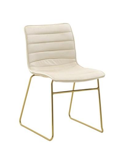 INART Μεταλλική Βελούδινη Καρέκλα Εκρού-Χρυσό Χρώμα Κωδικός: 3-50-991-0023