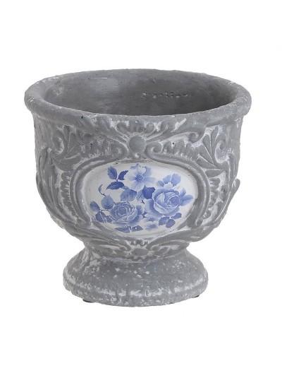 Τσιμεντένιο Κασπώ INART Γκρι με Σχέδια Μπλε Λουλουδιών Κωδικός: 3-70-793-0003 Διαστάσεις: 19X19X17 Εκατοστά