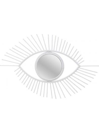 """Καθρέπτης Τοίχου Ξύλινος """"Μάτι"""" INART Λευκός Κωδικός: 3-95-273-0002 Διαστάσεις: 82Χ2,5Χ48 Εκατοστά"""