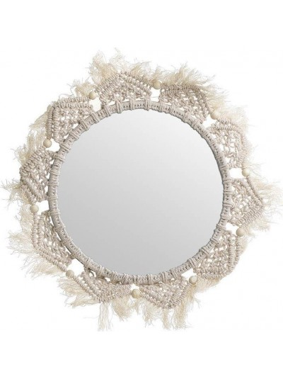 Καθρέπτης Τοίχου Υφασμάτινος INART Εκρού Μακραμέ Κωδικός: 3-95-602-0001 Διαστάσεις: 30Χ30Χ4 Εκατοστά