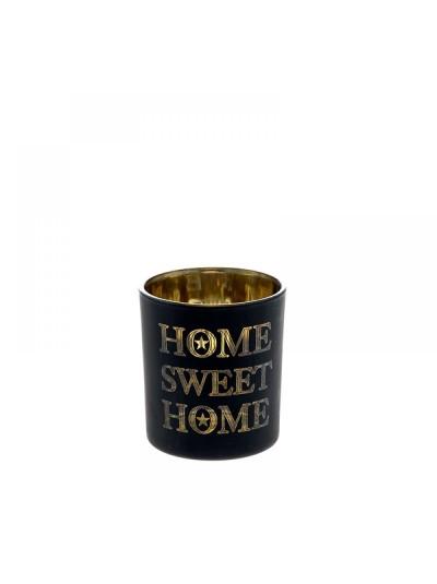 Κηροπήγιο Μαύρο Home Sweet Home 7X8 Εκατοστά