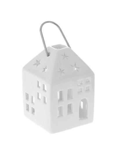Κεραμικό Φανάρι Σπίτι Λευκό 7X6X11 Εκατοστά